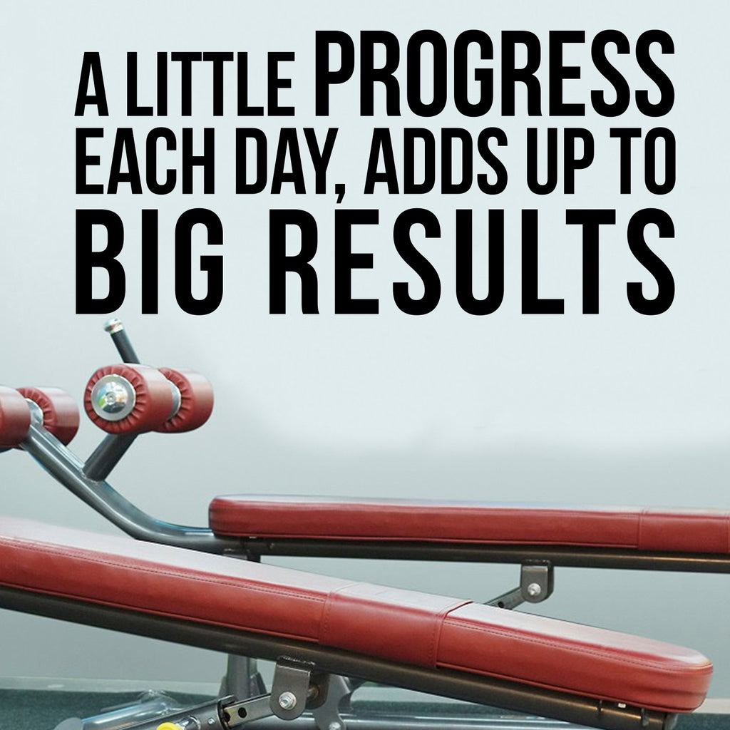 "A Little Progress Each Day, Adds Up"" to Big Results - Motivational Quote - Wall Art Decal 18x 38"" Life Quote Vinyl Sticker - Inspirational Fitness Quote Gym Wall Art Decor 660078096277"