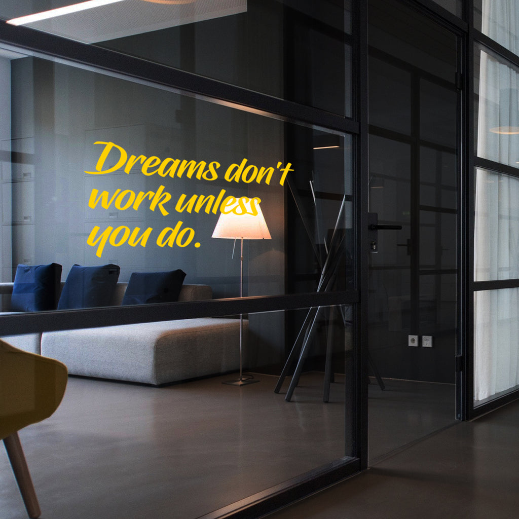 "Vinyl Wall Art Decal - Dreams Don't Work Unless You Do - 15"" x 27"" - Motivational Quotes for Home Bedroom Work Office Gym Fitness Apartment Living Room Workplace Sticker Decor (15"" x 27"", Yellow) 660078135235"