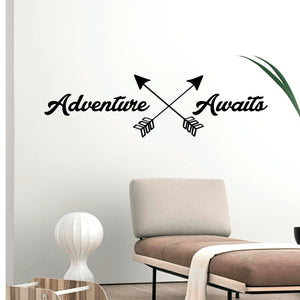 "Adventure Awaits Lettering - Inspirational Life Quotes - Wall Art Decal - 11"" x 39"" Decoration Vinyl Sticker - Apartment Bedroom Living Room Vacations Travel Peel Off Stickers (11"" x 39"", Black) 660078097328"