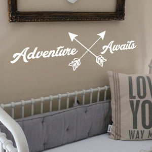"Adventure Awaits Lettering - Inspirational Life Quotes - Wall Art Decal - 11"" x 39"" Decoration Vinyl Sticker - Apartment Bedroom Living Room Vacations Travel Peel Off Stickers (11"" x 39"", White) 660078120057"