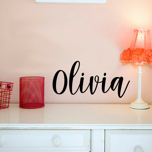 Vinyl Wall Art Decal Girls Custom Name - \'Olivia\' Custom Text Name- 12