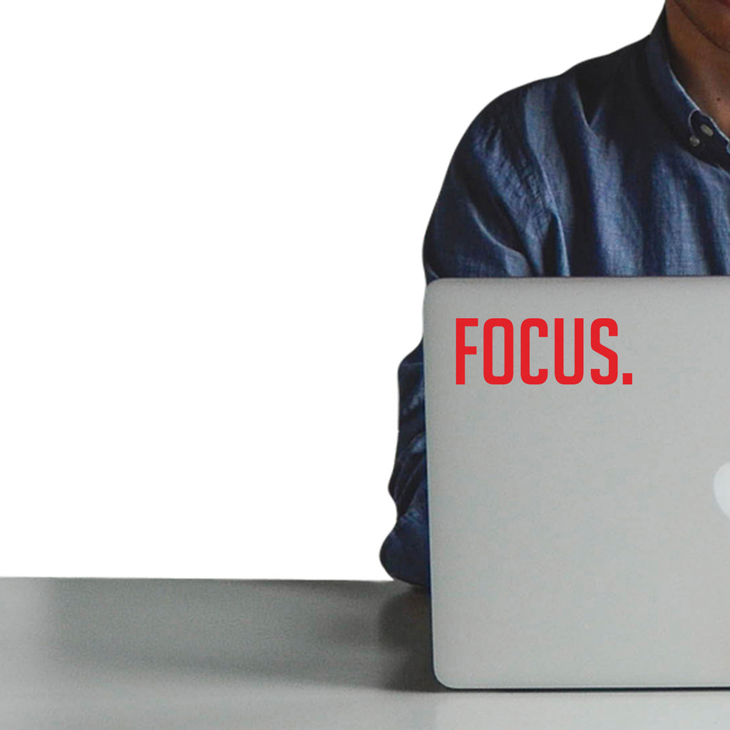 "Vinyl Wall Art Decal - Focus. - 2"" x 5"" - Laptop Skin Motivational Decal - Small Removable Waterproof Stencil Adhesive for Home Office Mirror Window Car Bumper Sticker (2"" x 5"", Red Text) 660078108024"