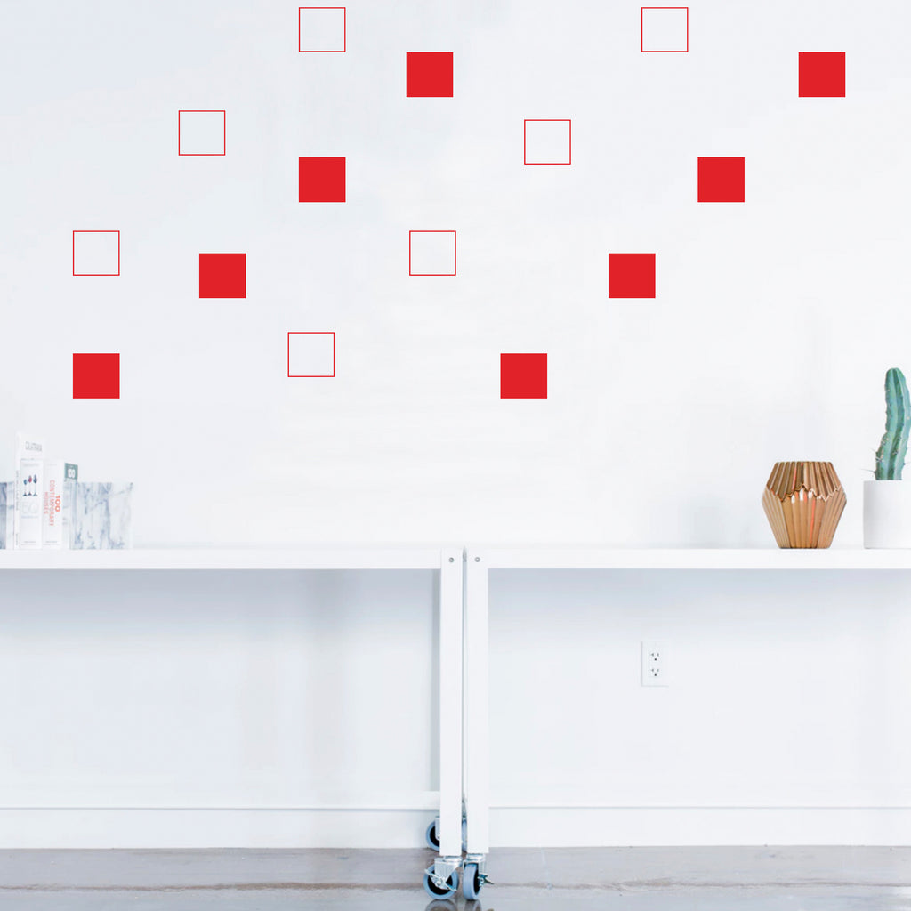 "Set of 20 Vinyl Wall Art Decal - Square Patterns - 4.3"" x 4.3"" Each - Minimalist Vinyl Stickers for Home Apartment Bedroom - Cool Modern Decor for Living Room Workplace Use (4.3"" x 4.3"" Each, Red) 660078113677"