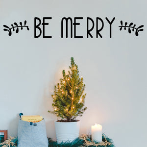 "Vinyl Wall Art Decal - Be Merry - 4"" x 30"" - Christmas Seasonal Holiday Decor Sticker - Inspirational Indoor Outdoor Home Office Wall Door Window Bedroom Workplace Decals (4"" x 30"", Black) 660078126257"