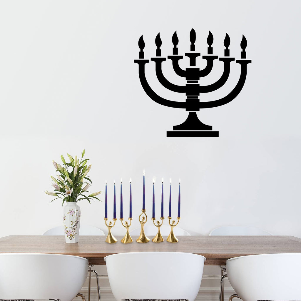 "Vinyl Wall Art Decal - 7 Menorah Candles - 21"" x 23"" - Jewish Holiday Candelabrum Decoration Sticker - Indoor Outdoor Home Office Wall Door Window Bedroom Workplace Decor Decals (21"" x 23"", Black) 660078126325"