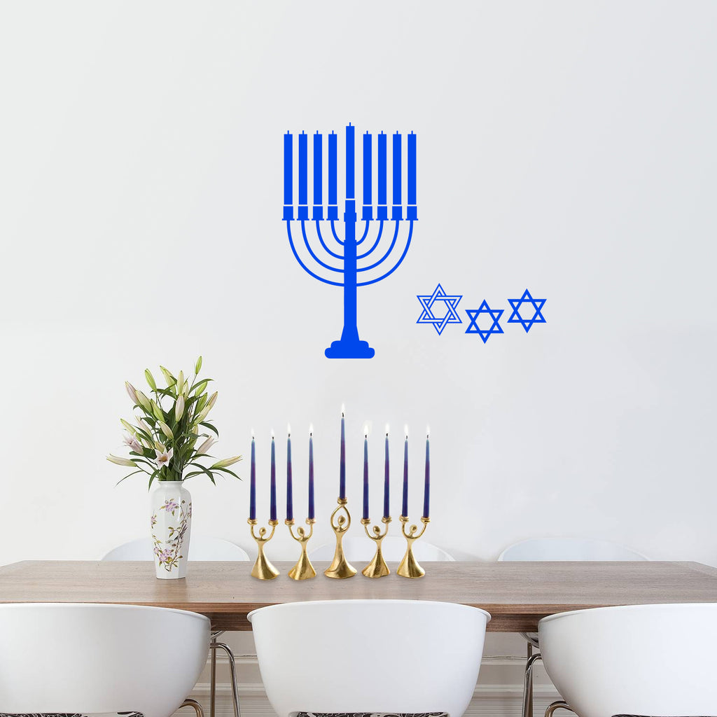 "Vinyl Wall Art Decal - 9 Menorah Candles and 3 Star of Davids - 23"" x 26"" - Jewish Holiday Decor Sticker - Indoor Outdoor Home Office Wall Door Window Bedroom Workplace Decals 660078126370"