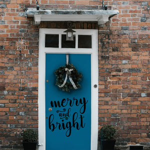 "Vinyl Wall Art Decal - Merry and Bright - 21"" x 21"" - Christmas Seasonal Decoration Sticker - Indoor Outdoor Home Office Wall Door Window Bedroom Workplace Decor Decals (21"" x 21"", Black) 660078126530"