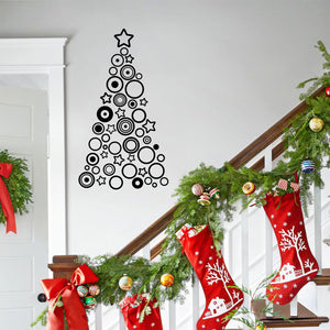 "Vinyl Wall Art Decal - Circles and Stars Christmas Tree - 36"" x 20"" - Seasonal Holiday Decor Sticker - Indoor Outdoor Home Office Wall Door Window Bedroom Workplace Decals (36"" x 20"", Black) 660078127070"