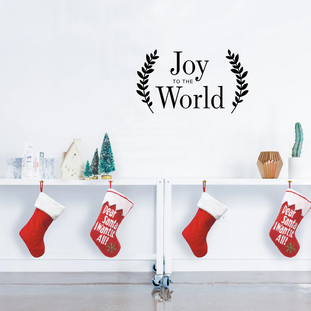 "Vinyl Wall Art Decal - Joy"" to The World - 13"" x 23"" - Christmas Seasonal Holiday Winter Decoration Sticker - Indoor Outdoor Home Office Wall Door Window Bedroom Workplace Decals (13"" x 23"", Black) 660078127339"