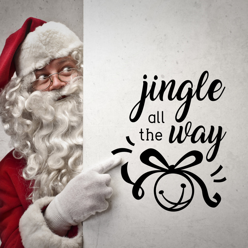 "Vinyl Wall Art Decal - Jingle All The Way - 18"" x 22.5"" - Christmas Seasonal Holiday Decoration Sticker - Indoor Outdoor Home Office Wall Door Window Bedroom Workplace Decals (18"" x 22.5"", Black) 660078127407"