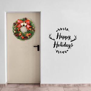 "Vinyl Wall Art Decal - Happy Holidays - 20"" x 22"" - Winter Christmas Seasonal Holiday Decoration Sticker - Indoor Outdoor Home Office Wall Door Window Bedroom Workplace Decals (20"" x 22"", Black) 660078127469"