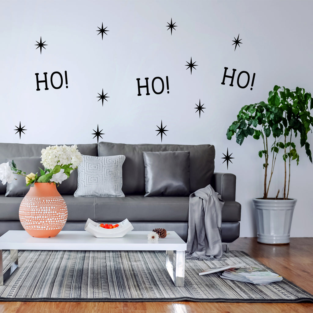 "Vinyl Wall Art Decal - Ho Ho Ho and Stars - 22"" x 22"" - Christmas Seasonal Decoration Sticker - Indoor Outdoor Window Home Living Room Bedroom Apartment Office Door Decor (22"" x 22"", Black) 660078127537"