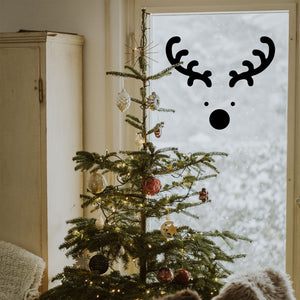 "Vinyl Wall Art Decal - Reindeer Face - 20"" x 23"" - Christmas Seasonal Holiday Decoration Sticker - Indoor Outdoor Window Home Living Room Bedroom Apartment Office Door Decor (20"" x 23"", Black) 660078127612"