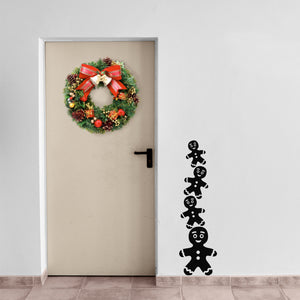 "Vinyl Wall Art Decal - 4 Stacked Gingerbread Men - 39"" x 11"" - Christmas Seasonal Holiday Decoration Sticker - Indoor Outdoor Window Home Living Room Bedroom Apartment Office Door Decor 660078127643"