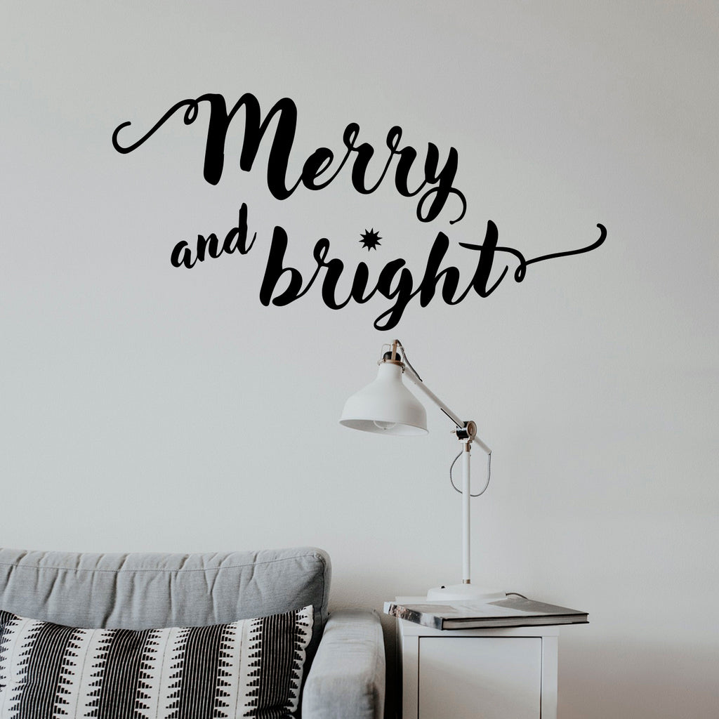"Vinyl Wall Art Decal - Merry and Bright - 11"" x 22.5"" - Christmas Seasonal Decoration Sticker - Indoor Outdoor Home Office Wall Door Window Bedroom Workplace Decor Decals (11"" x 22.5"", Black) 660078127667"