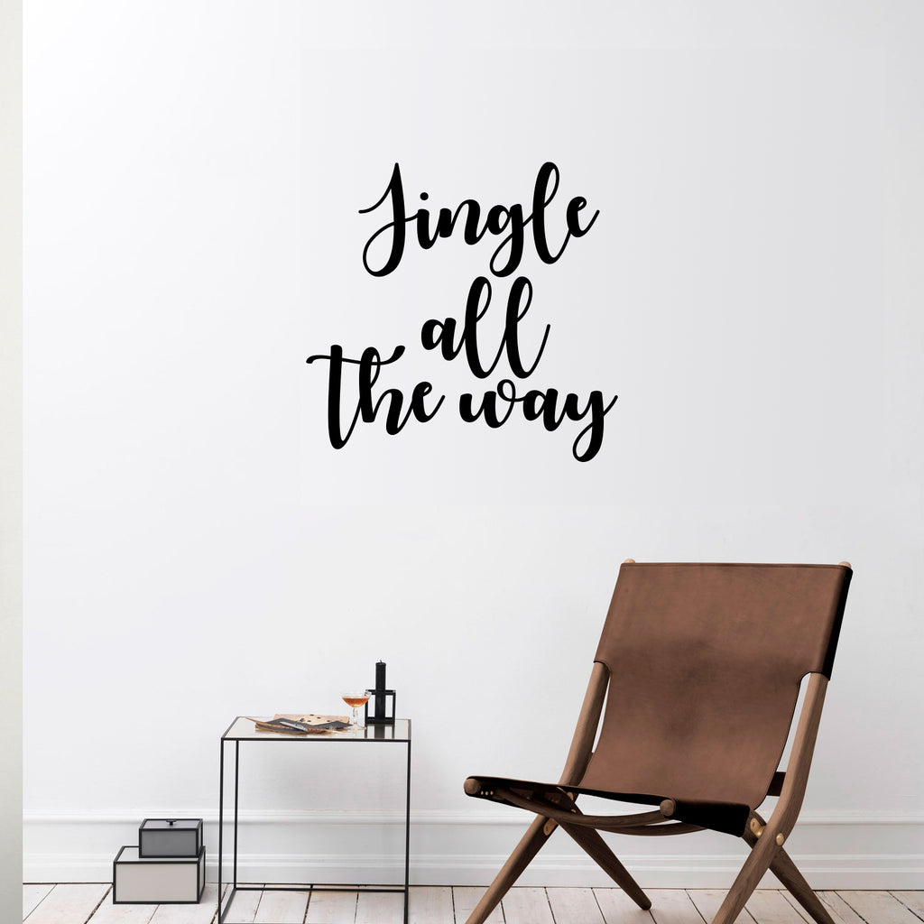 "Vinyl Wall Art Decal - Jingle All The Way - 22"" x 22.5"" - Christmas Seasonal Holiday Decoration Sticker - Indoor Outdoor Home Office Wall Door Window Bedroom Workplace Decals (22"" x 22.5"", Black) 660078127841"