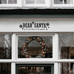 "Vinyl Wall Art Decal - Dear Santa - 6"" x 22.5"" - Snowflakes Christmas Seasonal Holiday Decoration Sticker - Indoor Outdoor Home Office Wall Door Window Bedroom Workplace Decals (6"" x 22.5"", Black) 660078127896"