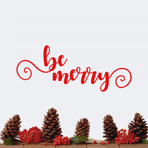 "Vinyl Wall Art Decal - Be Merry - 9"" x 22.5"" - Cursive Christmas Seasonal Holiday Decoration Sticker - Indoor Outdoor Home Office Wall Window Door Decoration Adhesive Decals (9"" x 22.5"", Red) 660078127933"