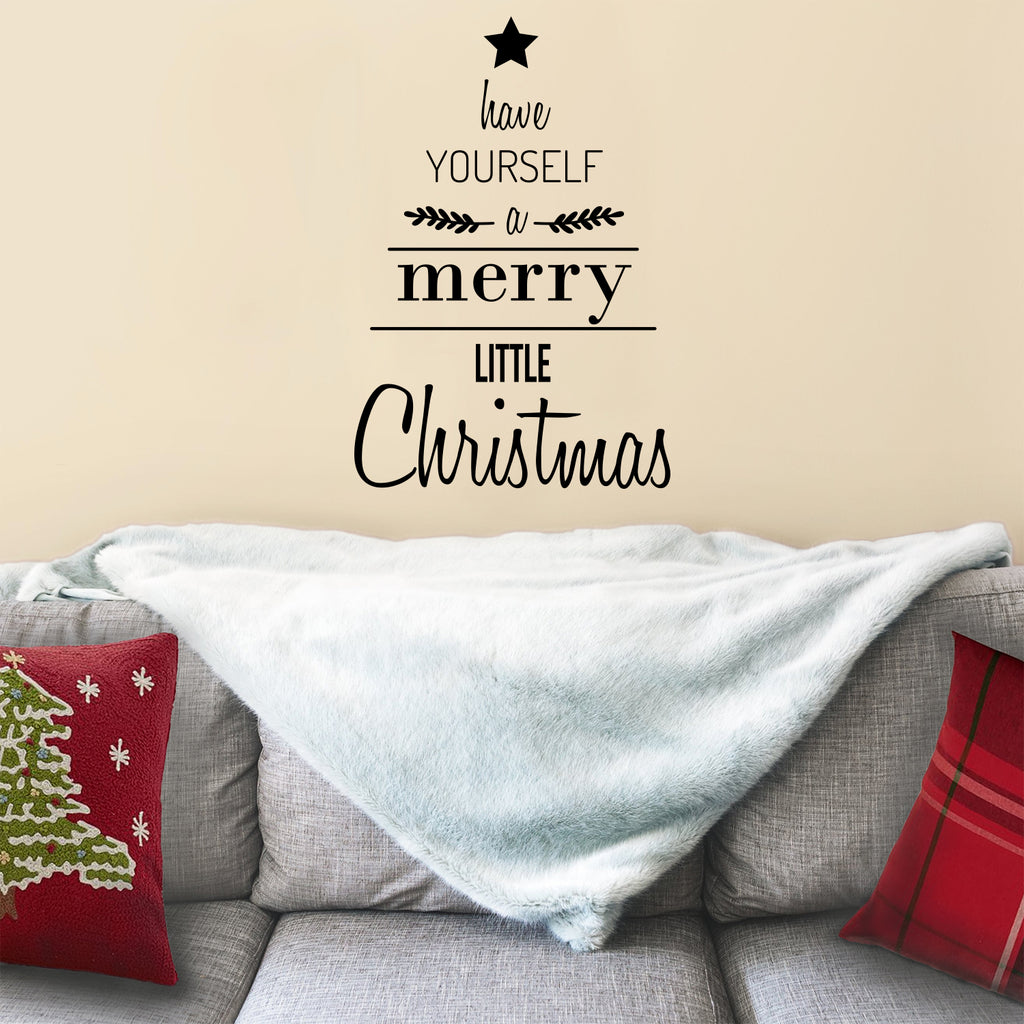 "Vinyl Wall Art Decal - Have Yourself A Merry Little Christmas - 34"" x 23"" - Seasonal Holiday Sticker - Indoor Window Home Living Room Bedroom Apartment Office Workplace Door Decor (34"" x 23"", Black) 660078128060"