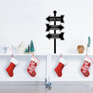 "Vinyl Wall Art Decal - Christmas Street Signs - 35"" x 16"" - Holiday Seasonal Sticker - Indoor Outdoor Home Apartment Office Wall Door Window Bedroom Workplace Decor Decals (35"" x 16"", Black) 660078128107"