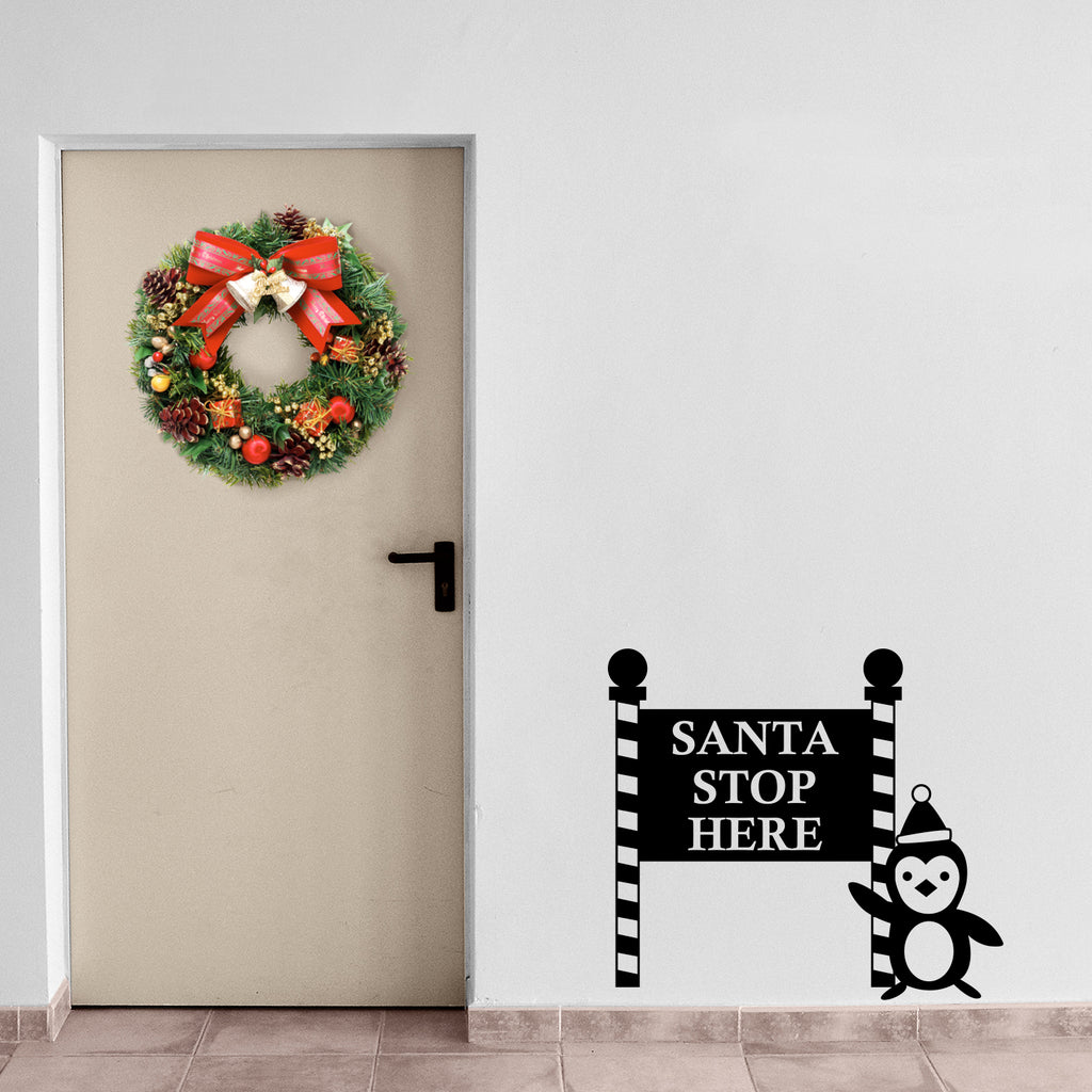 "Vinyl Wall Art Decal - Santa Stop with Penguin Sign - 23"" x 26"" - Holiday Seasonal Sticker - Indoor Outdoor Home Apartment Office Wall Door Window Bedroom Workplace Decor Decals (23"" x 26"", Black) 660078128145"