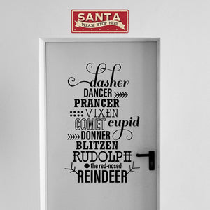"Vinyl Wall Art Decal - Santa's Reindeer Names - 35"" x 22"" - Holiday Christmas Seasonal Sticker - Indoor Home Apartment Office Wall Door Window Bedroom Workplace Decor Decals (35"" x 22"", Black) 660078128176"