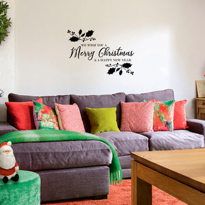 "Vinyl Wall Art Decal - We Wish You A Merry Christmas - 22.5"" x 32"" - Christmas Holiday Seasonal Sticker - Indoor Home Apartment Wall Door Window Bedroom Workplace Decor Decals 660078128206"