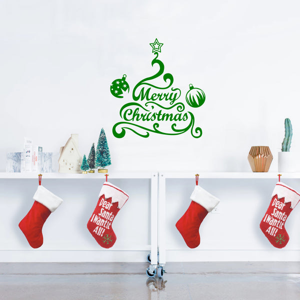 Apartment Christmas Decorations Indoor.Vinyl Wall Art Decal Merry Christmas Tree And Ornaments 24