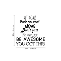 "Set Goals, Push Yourself, Don't Quit - Inspirational Quotes Wall Art Vinyl Decal - 23"" x 24"" Gym Quotes Decoration Vinyl Sticker - Motivational Wall Art Decal - Life Quotes Vinyl Sticker Wall Decor"