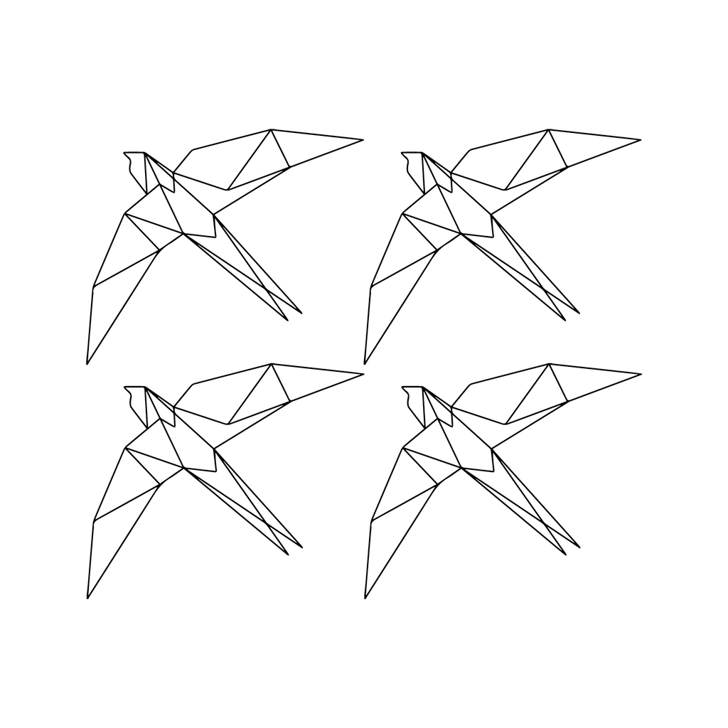 "Set of 4 Geometric Birds - 11.5"" x 9.5"" Each"