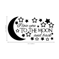 "I love you to the moon and back - 22"" x 11"" - vinyl wall decal sticker art"