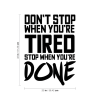 "Don't Stop When You're Tired Stop When You're Done - 23"" x 32"" - Inspirational Gym Quotes - Wall Art Vinyl Decal - 32"" x 23"" Decoration Vinyl Sticker - Home Gym Wall Decor - Fitness Quote Decal 660078089613"