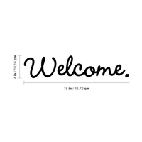 "Welcome - 18"" x 4"" Cute Welcoming Decorative Front Door Vinyl Decal Sticker Art"