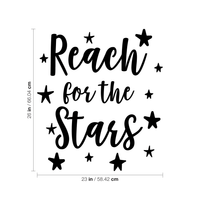 "Vinyl Wall Art Decal - Reach for The Stars - 26"" x 23"" - Inspirational Little Kids Toddlers Nursery Playroom Bedroom Home Apartment Daycare Classroom Positive Quote Sticker Stencil Adhesive Decals 660078116784"