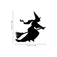 "Vinyl Wall Art Decal - Flying Witch - 22.5"" x 22.5"" - Fun Spooky Halloween Seasonal Decoration Sticker - Teens Adults Indoor Outdoor Wall Door Window Living Room Office Decor 660078119181"