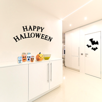 "Vinyl Wall Art Decal - Happy Halloween - 19"" x 40"" - Fun Seasonal Greeting Letters Decoration Sticker - Kids Teens Adults Indoor Outdoor Wall Door Window Living Room Office Decor 660078119709"