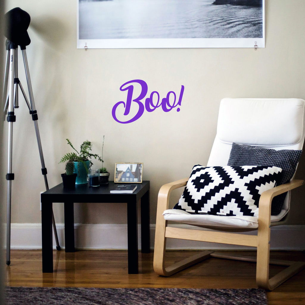 "Vinyl Wall Art Decal - Boo - 11.5"" x 19"" - Fun Brush Lettering Halloween Seasonal Decoration Sticker - Teens Adults Indoor Outdoor Wall Door Window Living Room Office Decor 660078119648"