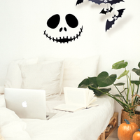"Vinyl Wall Art Decal - Jack Skellington Inspired Face - 17"" x 22"" - Fun Halloween Seasonal Decoration Sticker - Nightmare Before Christmas Indoor Outdoor Wall Door Window Living Room Office Decor 660078118993"