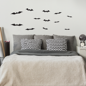 12 bats set - From 4.5 in to 9 in each - Spooky Black Halloween Wall Art Vinyl Decal Bats Sticker
