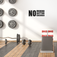 "Vinyl Wall Art Decal - No Whining No Quitting No Excuses - 9"" x 23"" - Motivational Workout Gym and Fitness Quote Sticker - Peel and Stick Wall Home Living Room Bedroom Decor 660078120200"