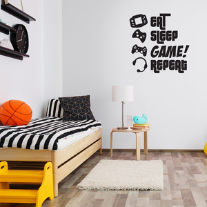 "EAT, SLEEP, GAME, REPEAT - 46"" x 47"" - Gamers Wall Art Vinyl Decal - Video Gamers Cool Wall Decor- Decoration Vinyl Sticker - Teen Boys Room Decor - 660078090800"