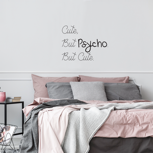 "Cute But Psycho But Cute - Funny Quotes Wall Art Vinyl Decal - 20"" X 26"" Fashion Decoration Vinyl Sticker - Motivational Wall Art Decal - Bedroom Living Room Decor - Trendy Wall Art 660078091005"