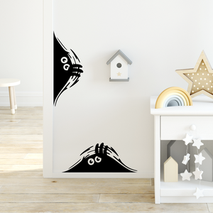 "Set of 2 Curious Monsters - Size is: 18"" x 7"" each- Vinyl Wall Decal Sticker Art"