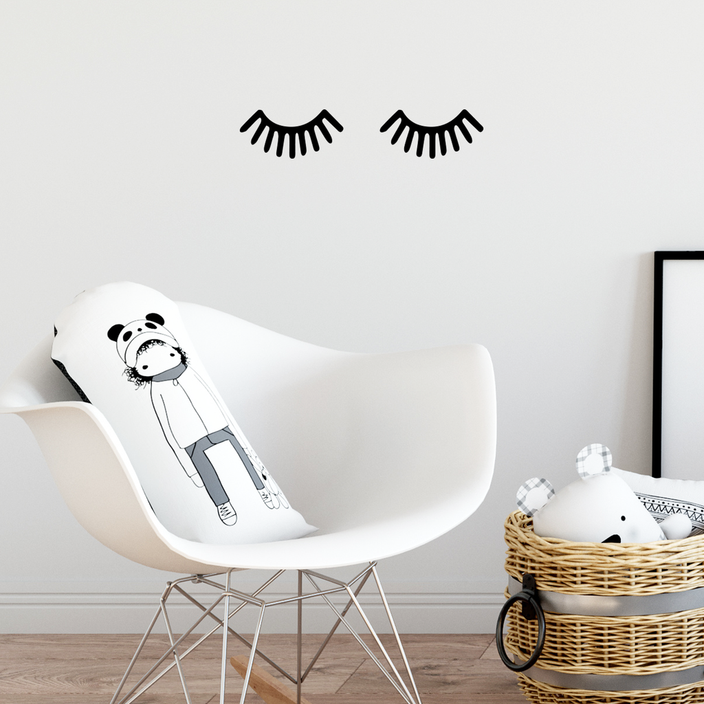 "Small Children Baby Room Sleeping Eye Eyelashes Vinyl Wall Art Decal - 19"" x 4"" Decoration Vinyl Sticker"