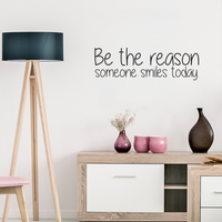 "Be The Reason Someone Smiles Today - Inspirational Quote - Vinyl Wall Art Decal - 10"" x 30"" - Life Quotes Wall Art Sticker 660078088951"