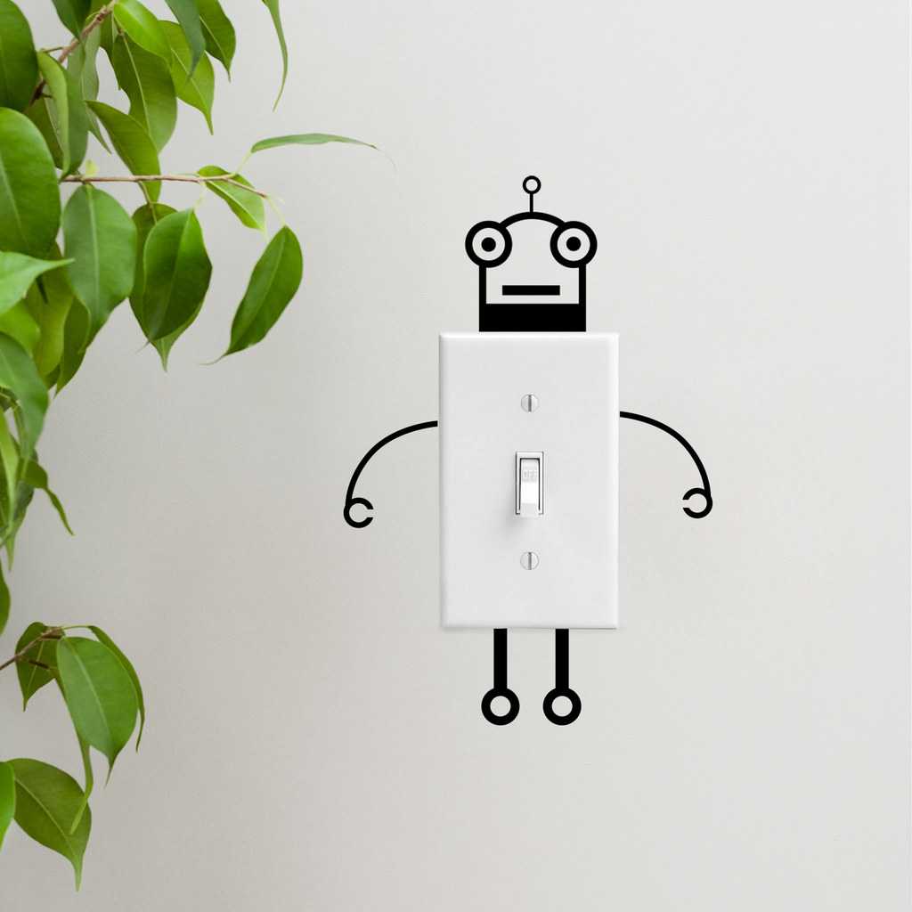 "Vinyl Wall Art Decal - Light Switch Robot - 1.5"" to 2"" Each - Fun Decor for Light Switch Kids Boy Girl Bedroom Decor for Light Switch - Laptop Computer Peel and Stick Sticker Designs"