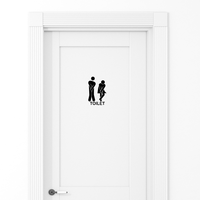 "Unisex Bathroom Toilet Sign- Wall Art Decal - 5.1"" x 8.6"" - Bathroom Door Vinyl Sticker - Door Decals for Bathroom Decoration 660078084311"