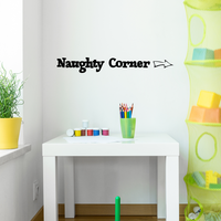 "Naughty Corner with Arrow - 30"" x 4"" - Unisex Little Girl Boy Kids Bedroom Decoration Sticker"