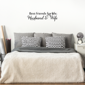 "Best Friends For Life, Husband and Wife - 30"" x 9"" - Cute Bedroom Decorative Vinyl Wall Decal"