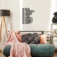 "Be Real Be Yourself Be Unique Be Happy. -Inspirational Quote - Wall Art Decal - 31""x 23"" - Motivational Life Quotes Vinyl Decal - Bedroom Wall Decoration - Living Room Wall Art Decor 660078089019"